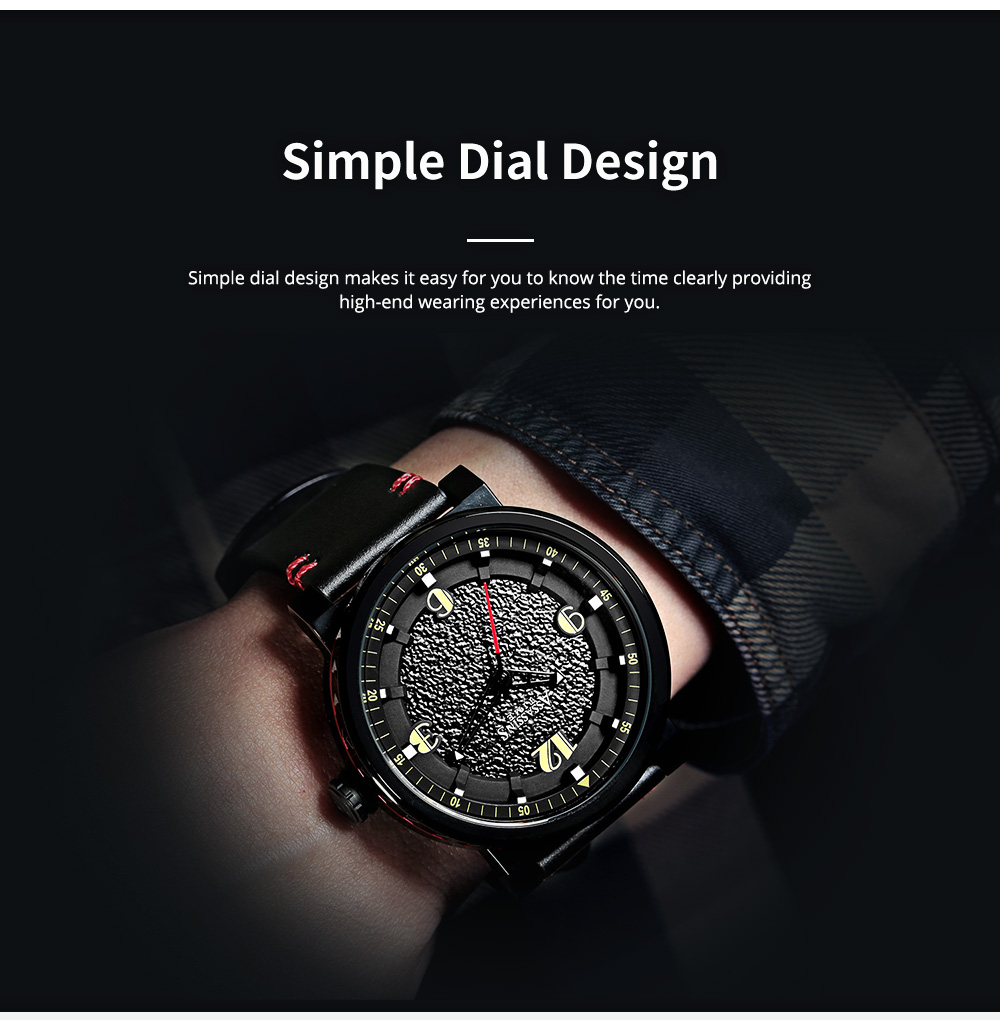 Minimalist Stylish Casual Sports Wrist Watch with Leather Strap Waterproof Watch Quartz Watch for Men Women 2