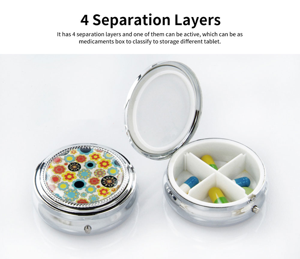 Men's Portable Health Pill Box, Stainless-iron ABS Portable Metal Pill Container with 4 Separation Layers 4