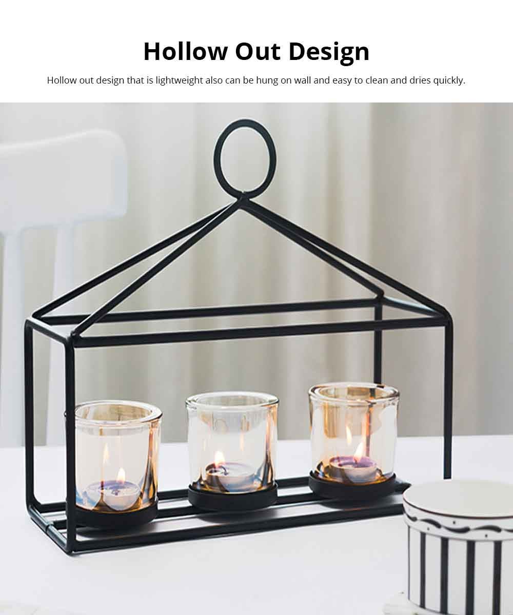 Candlestick Romantic Nordic Geometric Wrought Iron&Glass Candle Holder Simple Modern Retro Home Decor Ornaments Props Light 5