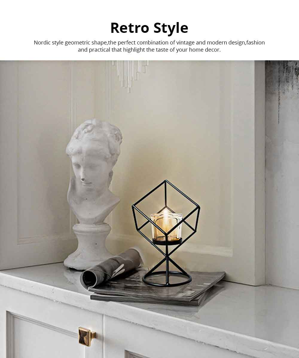 Candlestick Romantic Nordic Geometric Wrought Iron&Glass Candle Holder Simple Modern Retro Home Decor Ornaments Props Light 1