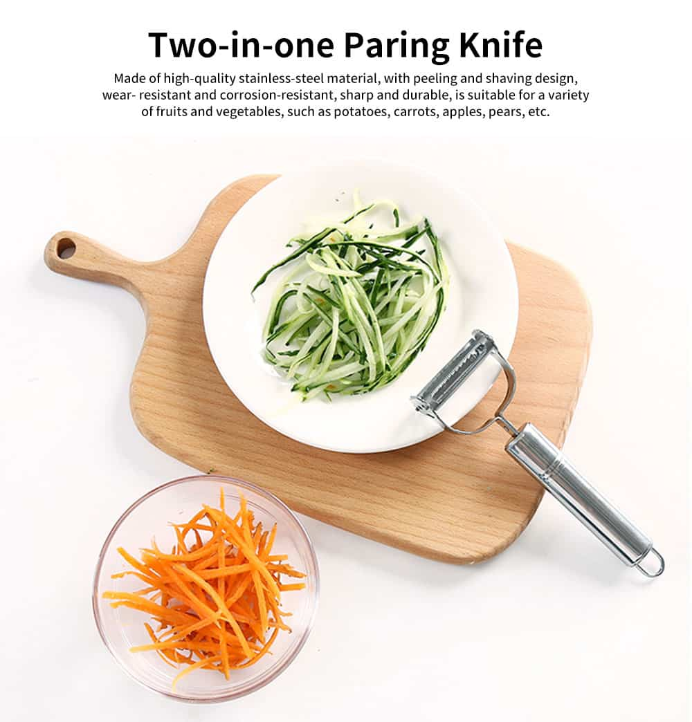 Two-in-one Paring Knife, Stainless-steel Multi-function Peeling Knife, with Peeling and Shaving Design 0
