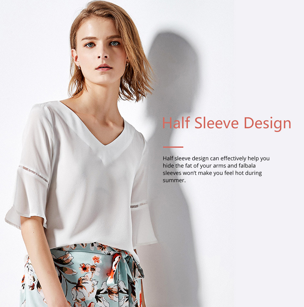 Minimalist Atmosphere White Breathable Viscose Cotton Women Half Sleeves Shirt V-neck Tops for Ladies 3