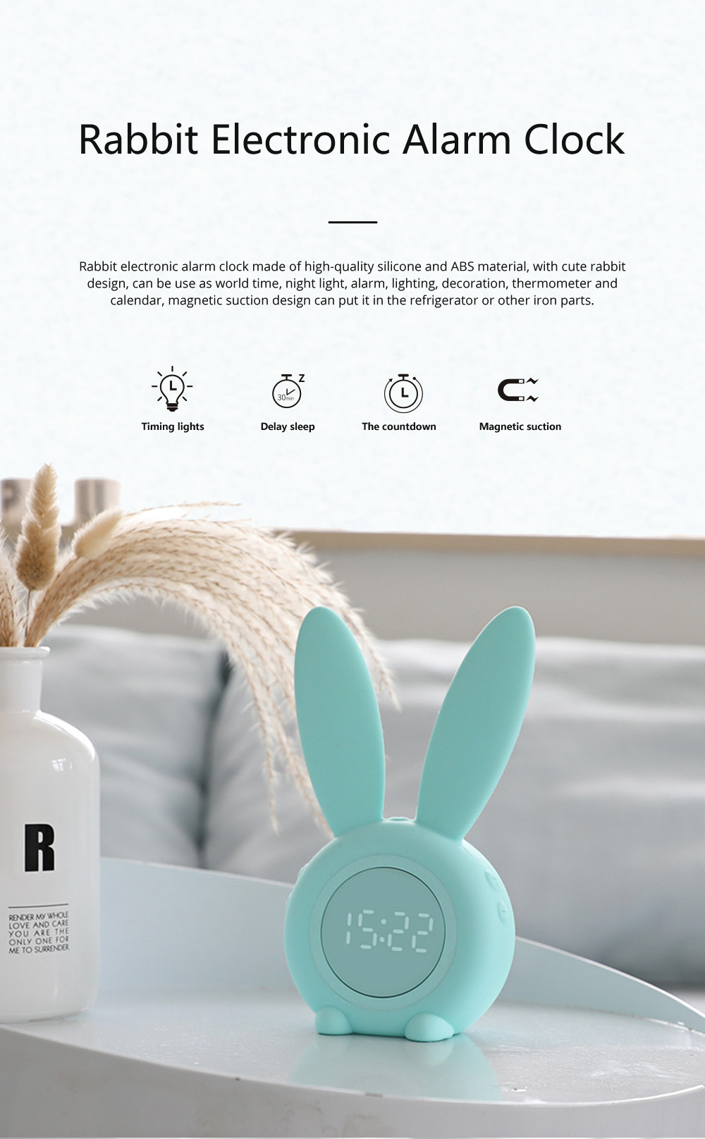 Rabbit Electronic Alarm Clock Timing Subdued Lights Magnetic Suction LED Clock Good Endurance Wake Up Tools 0