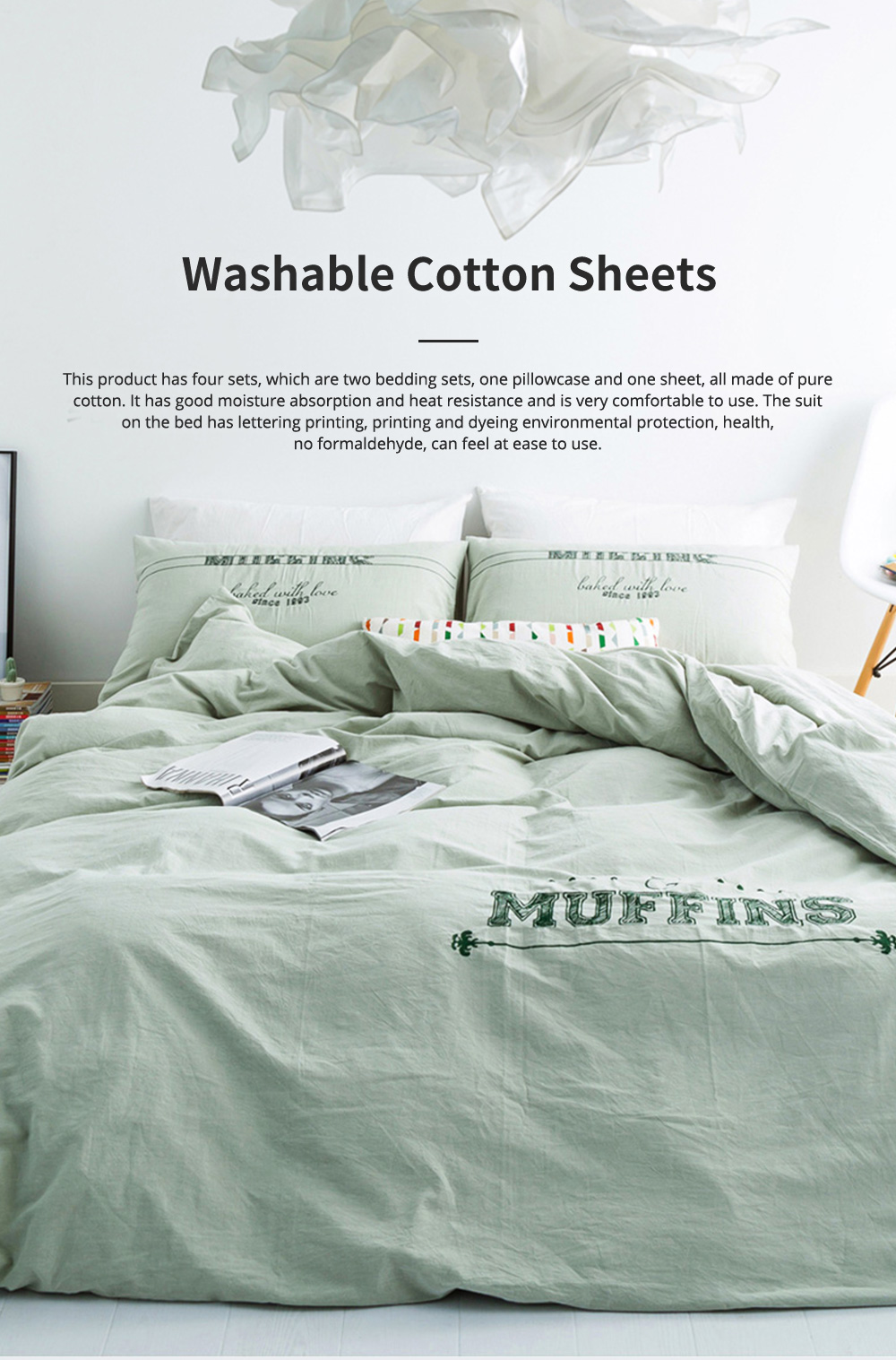 Washable Cotton Sheets Skin-friendly Quilt Cover 4 pieces Pure Cotton Bedding Sheets 0