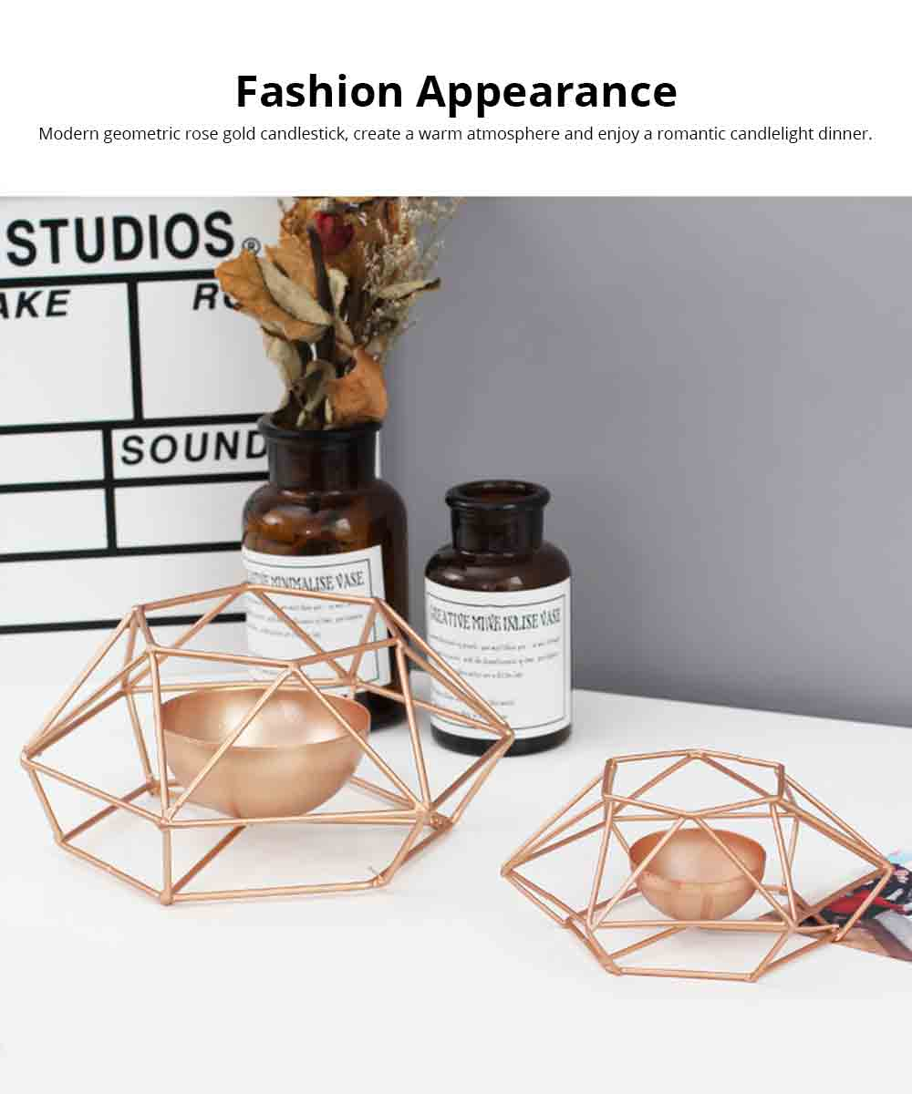Nordic Geometric Wrought Iron Candlestick Creative Home Bedroom Room Decoration Shooting Props Romantic Candle Holder 1