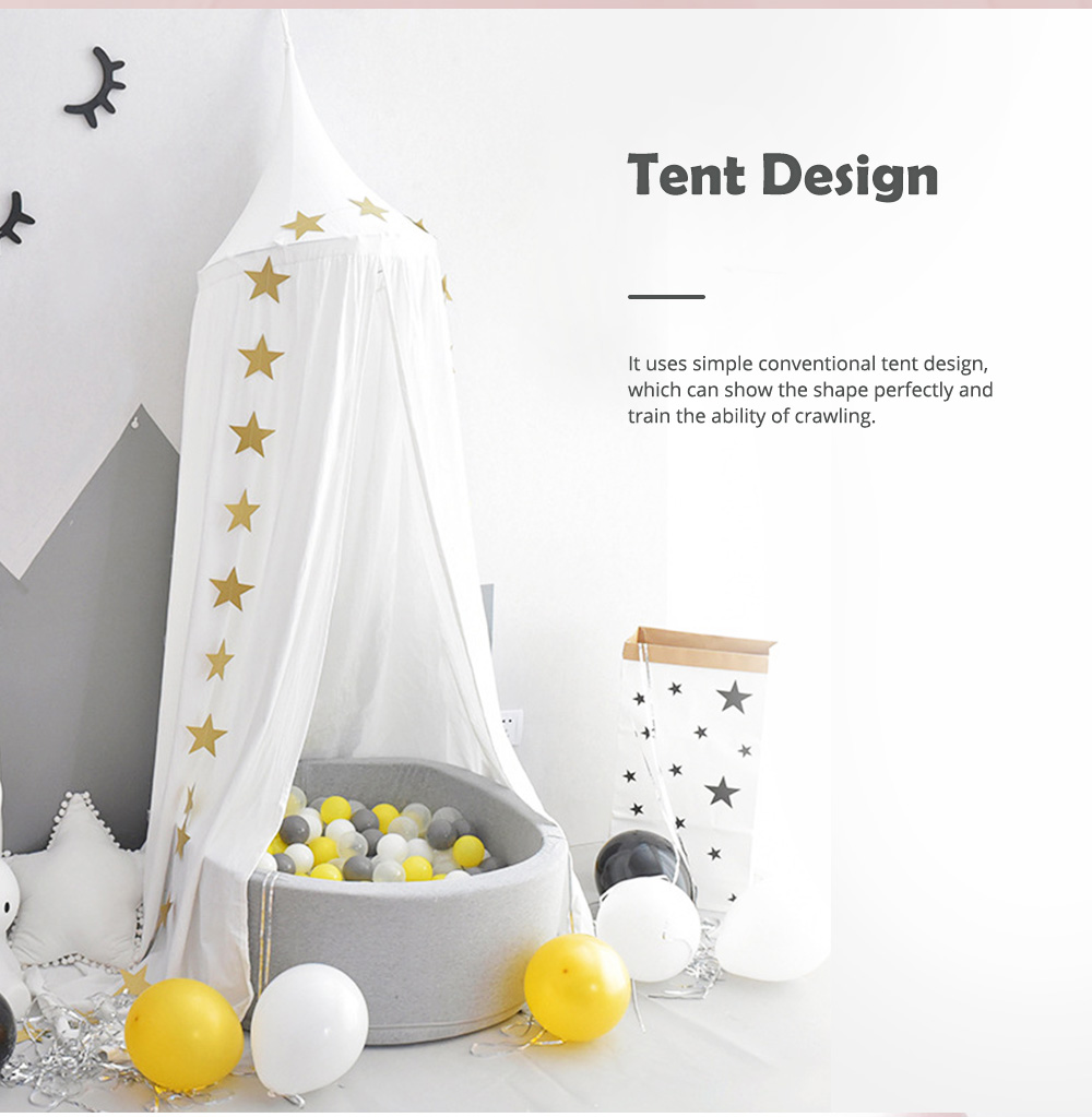 Lovely Cloth Play House Dome Veil for 0-2 Year's Old Baby Classic Color Top Lanyard Children's Tent 4
