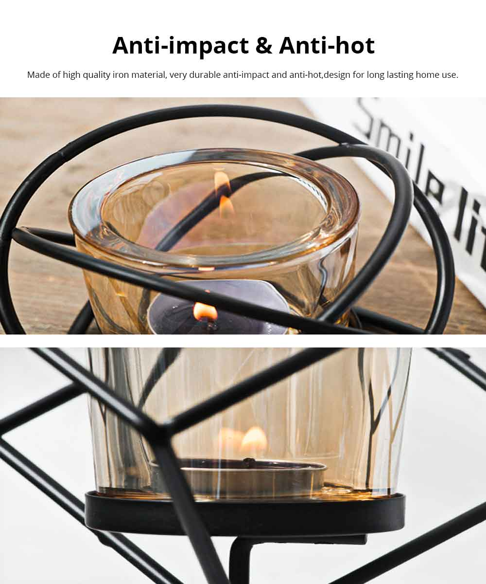 Candlestick Romantic Nordic Geometric Wrought Iron&Glass Candle Holder Simple Modern Retro Home Decor Ornaments Props Light 3