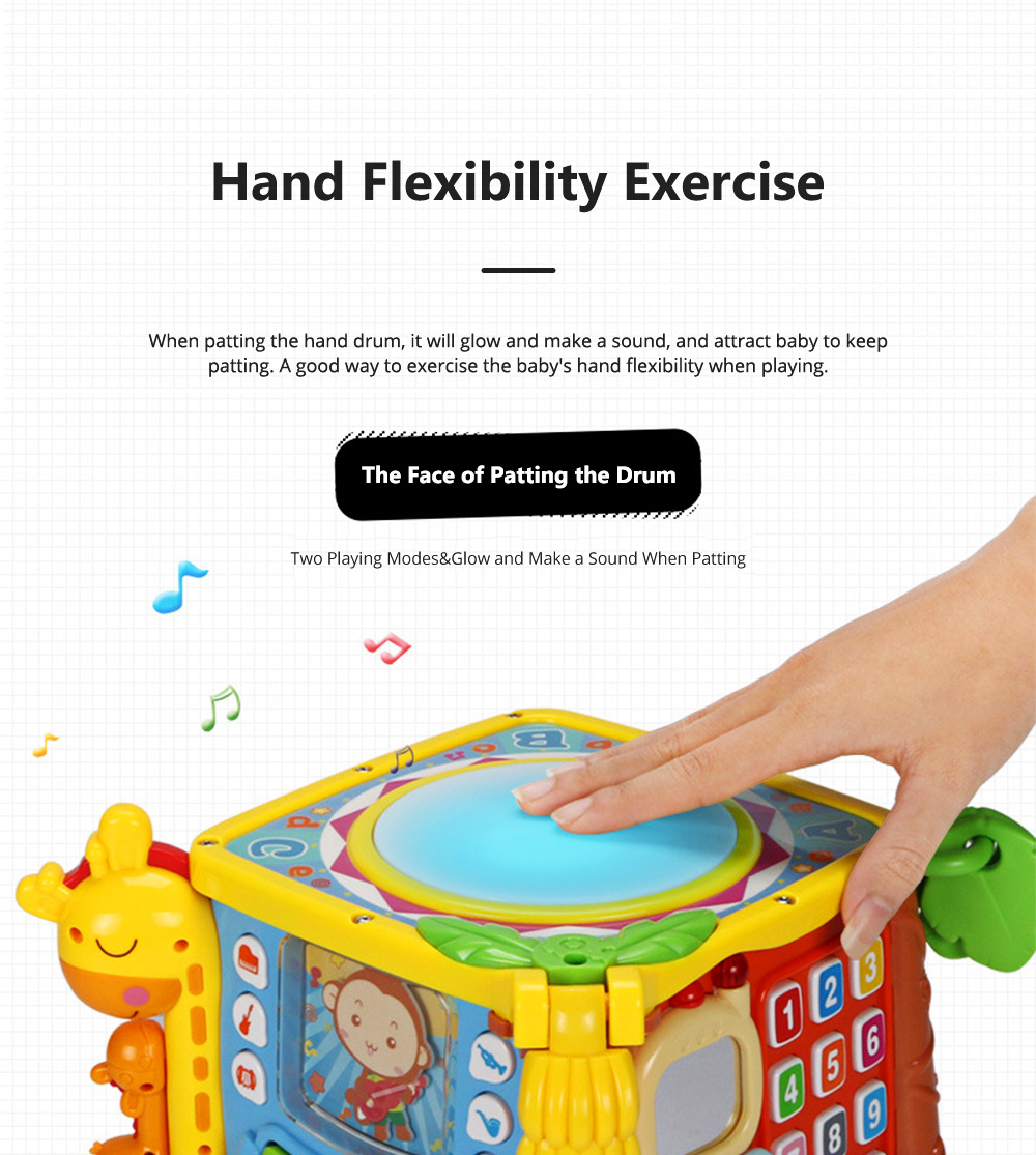 Goodway Plastic Hand Drums with Six Face Children's Educational Toys for Language Skills and Hand Flexibility Training 3