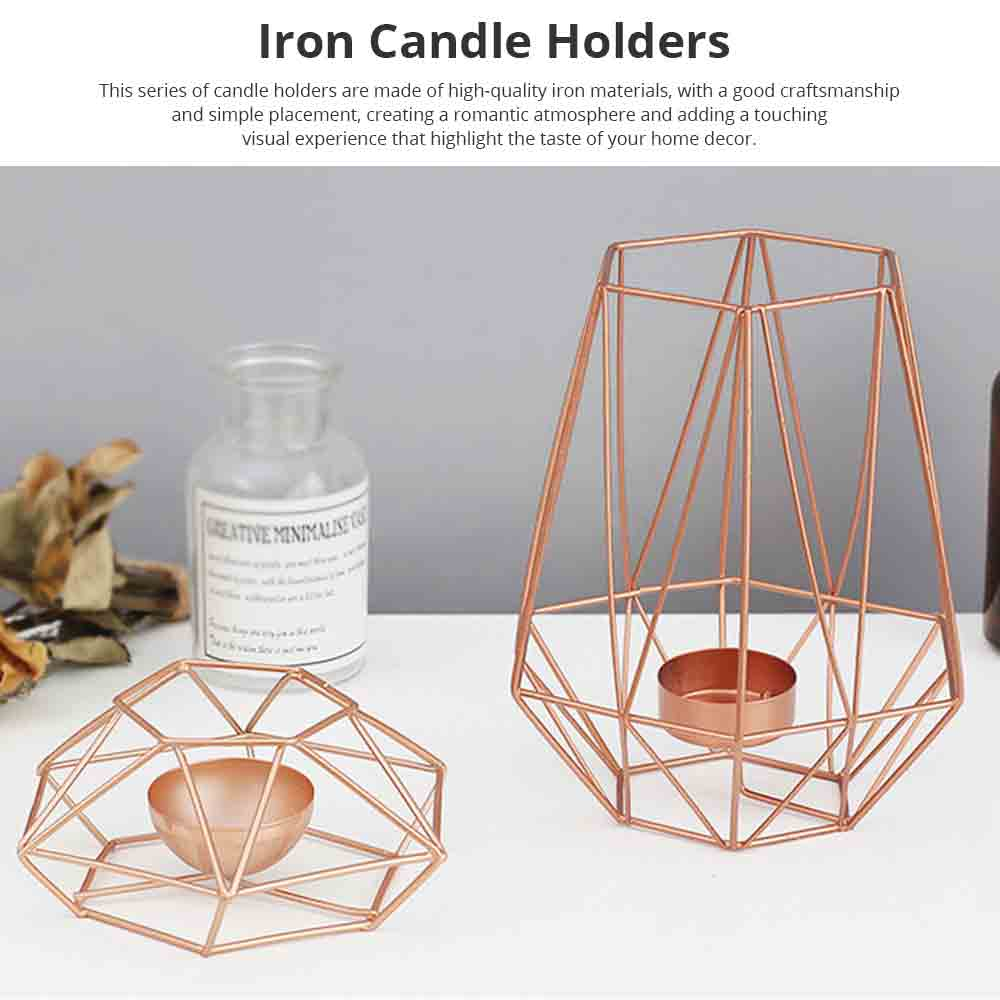 Nordic Geometric Wrought Iron Candlestick Creative Home Bedroom Room Decoration Shooting Props Romantic Candle Holder 0