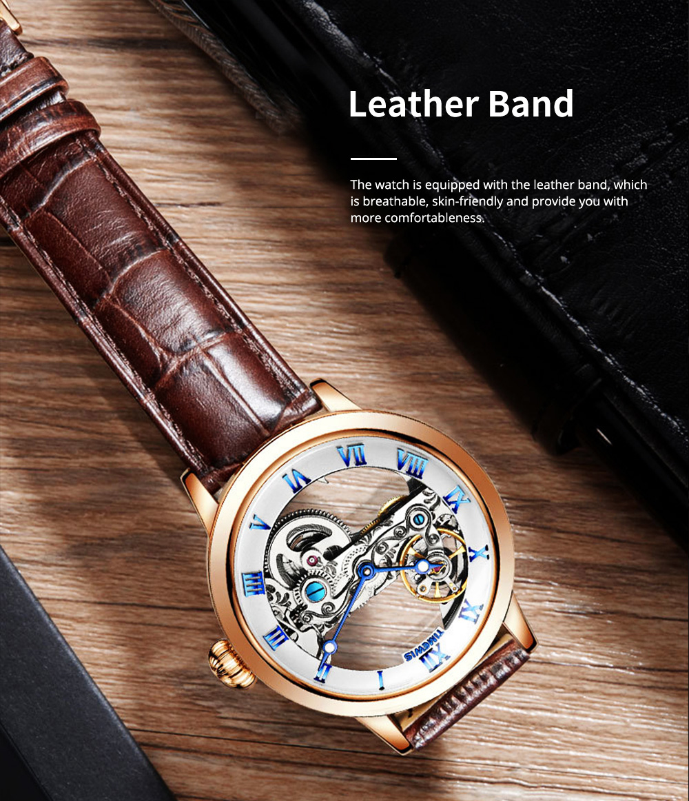 Waterproof Mechanical Watch for Men Transparent Fashionable with Leather Band Strap Scratchproof 4