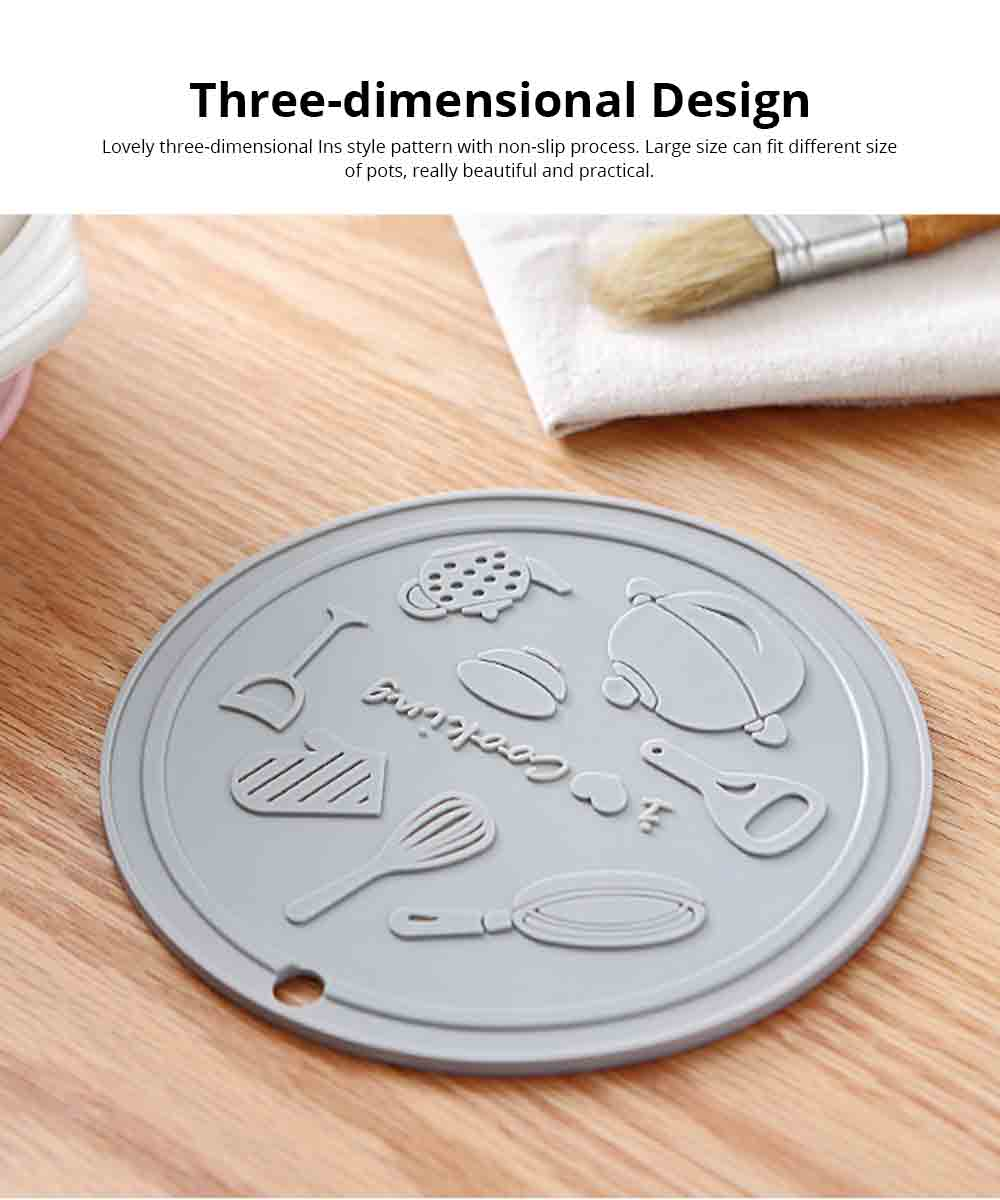 Anti-hot Placemat for Home Restaurant, Household Desktop Thickening Silicone Round Placemat Heat-Resistant Anti-hot Kitchen Accessory Insulation Pad 5