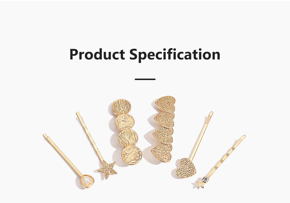 3 Pieces Metal Gold Hair Pins for Girls Women Hair Styling Barrette Accessories with Simple Round and Star Shaped 8