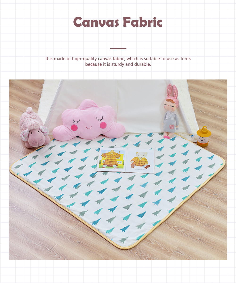 Crawling Mat for 0-2 Year's Old Baby Cute Pattern Quadrilateral Ground Mat Non-slip Hand and Machine Wash Tent Cushion 7
