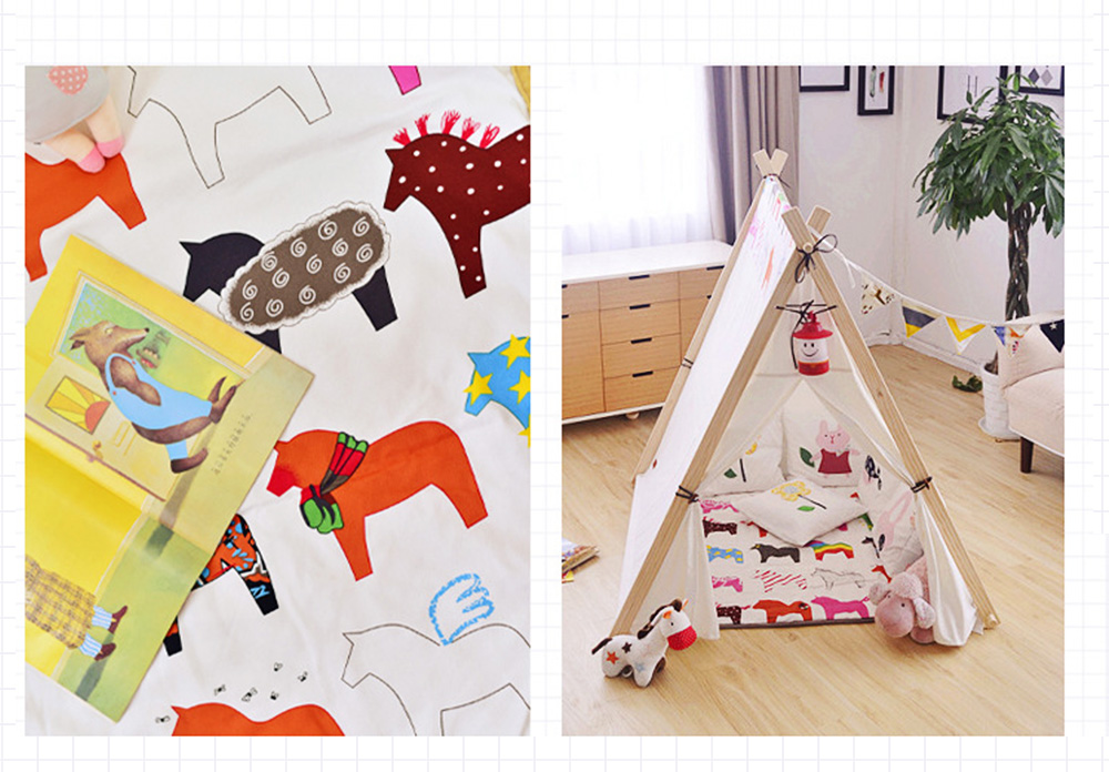 Crawling Mat for 0-2 Year's Old Baby Cute Pattern Quadrilateral Ground Mat Non-slip Hand and Machine Wash Tent Cushion 5