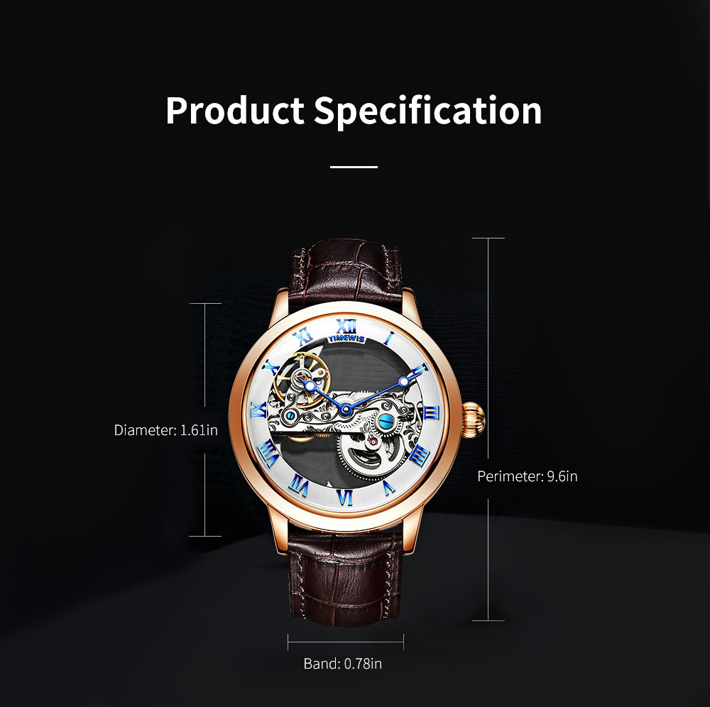 Waterproof Mechanical Watch for Men Transparent Fashionable with Leather Band Strap Scratchproof 6
