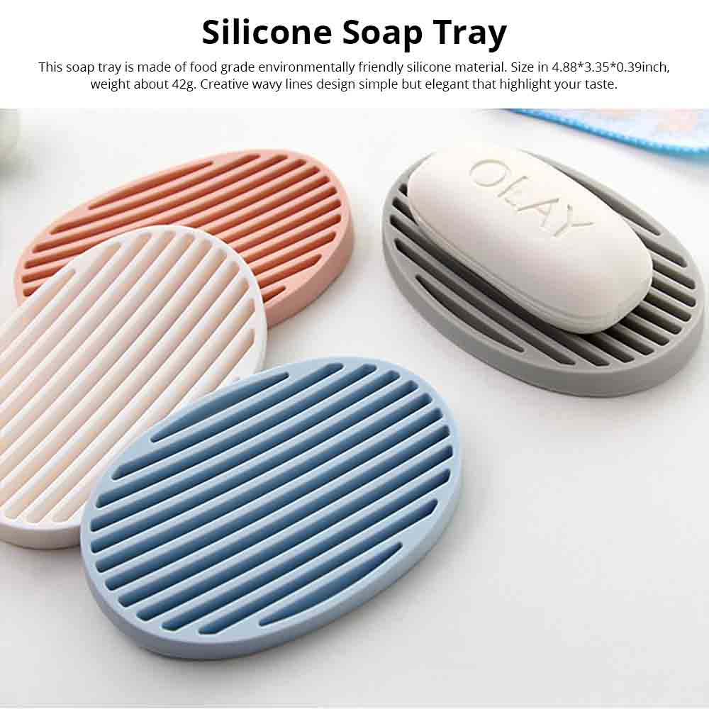 Nail Free Soap Box, Creative Simple Non-toxic Odorless Silicone Soap Holder with Draining, Soap Tray for Kitchen Bathroom Kitchen 0