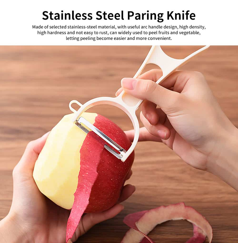 High-quality Stainless-steel Paring Knife, Fashion Simple Household Peeler, with Hole Digging Design 0