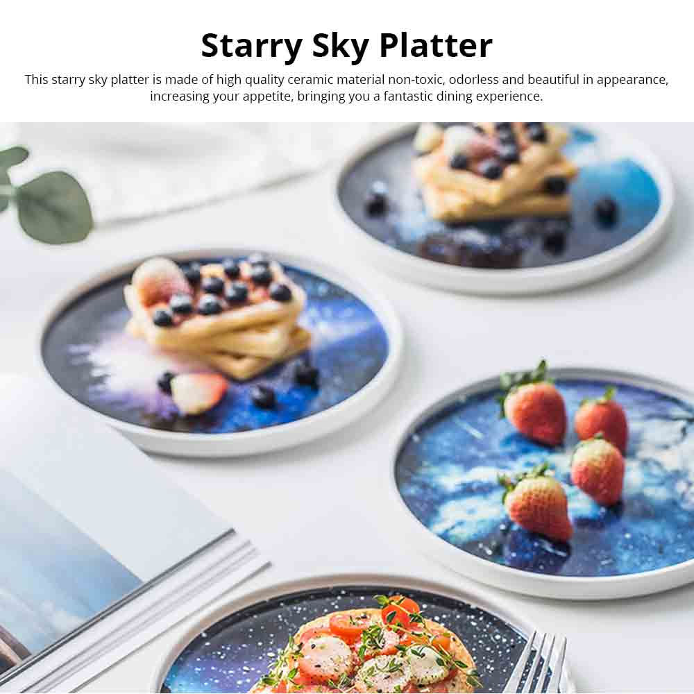 Flat Plate Personality Creative Nordic Ceramic Platter Ins Style Fashion Kitchen Accessory Cake Plate Snack Plate 0