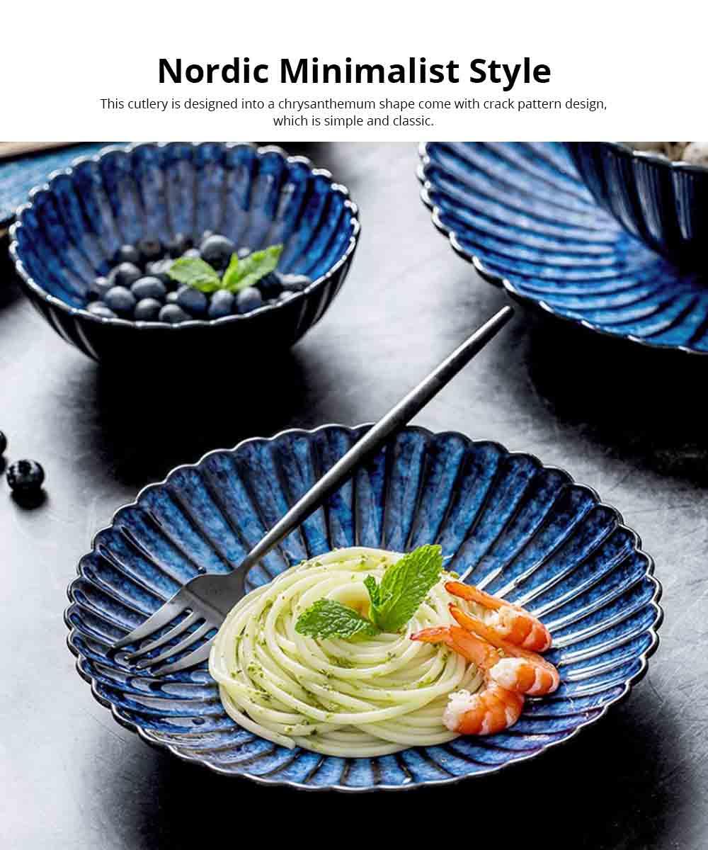 European Kitchen Tableware Set, Creative Nordic Chrysanthemum Ceramic Cutlery Set Personality Western Steak Plate Salad Bowl 3