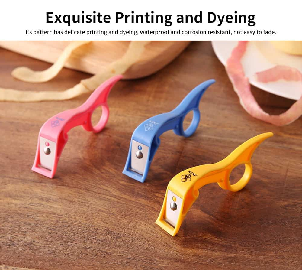 Exquisite Printing and Dyeing Apple Peeler, Fruit Peeling Artifact with Finger Ring Buckle of Peeler 4