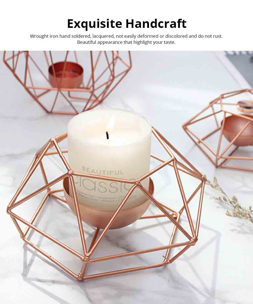 Nordic Geometric Wrought Iron Candlestick Creative Home Bedroom Room Decoration Shooting Props Romantic Candle Holder 2