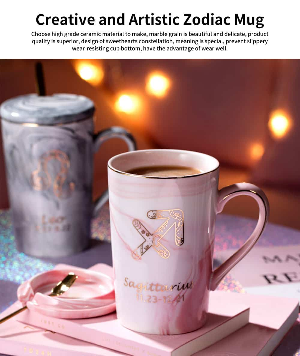 Artistic Zodiac Mug, Ceramic Water Cup with Cover Spoon, Nordic Couple Creative Coffee Cup 0