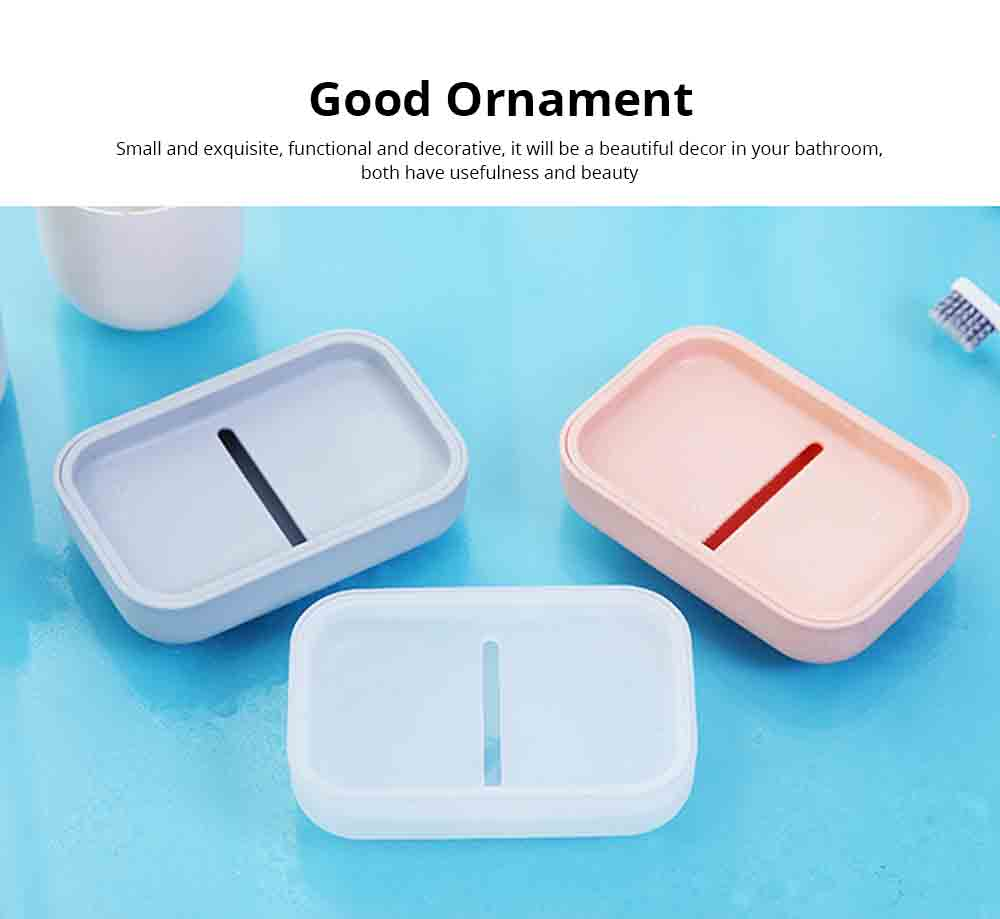 Creative Soap Box with Lid, Soap Holder with Drain Design, Portable Japanese Style Bathroom Accessory Double Soap Box Tray 2