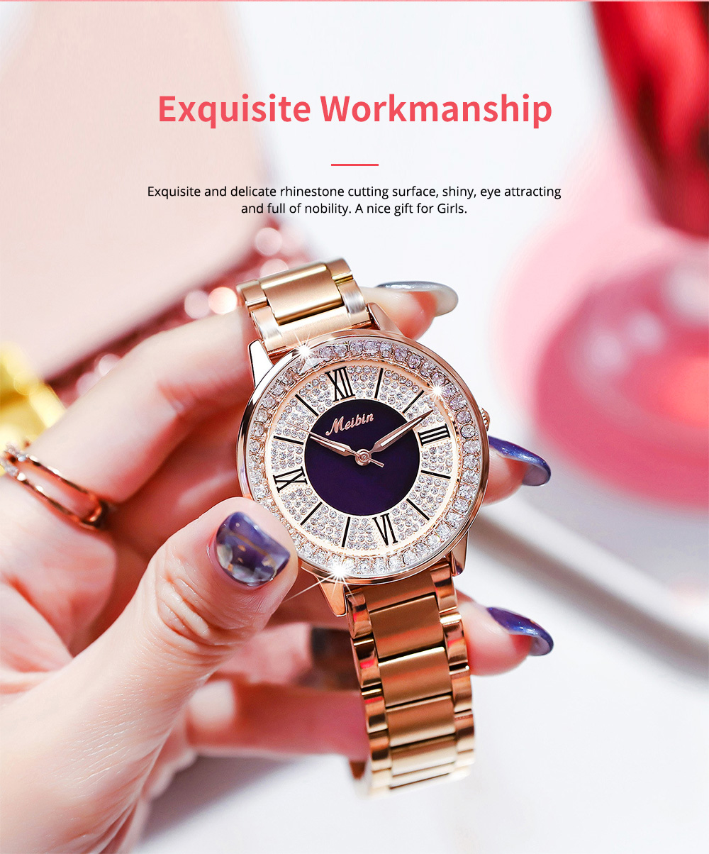 MEIBIN Multifunctional Watch for Women Luxury with Accented Crystal Dial and Steel Strap Waterproof 2