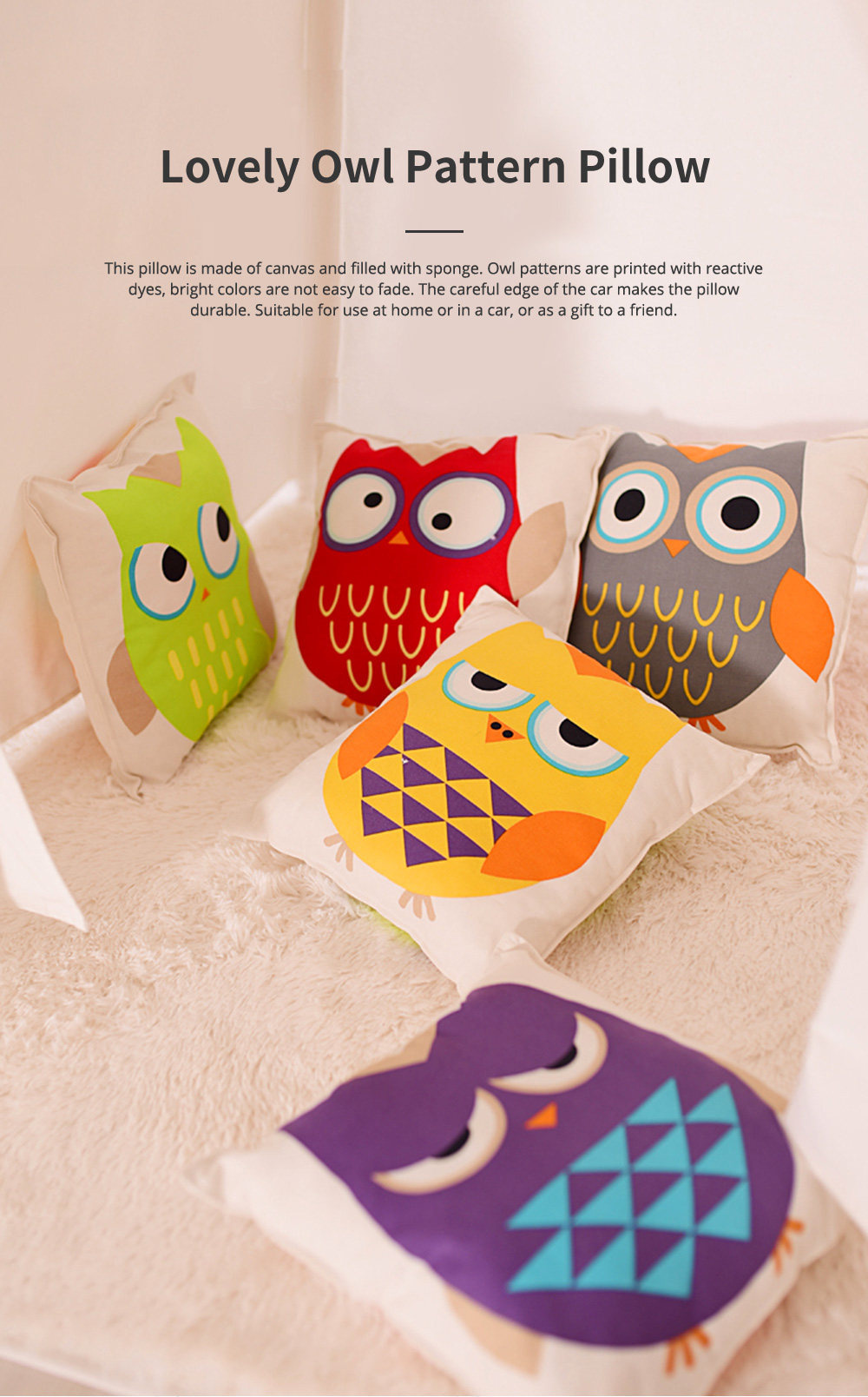 Lovely Owl Pattern Pillow for Car Home Sofa Cotton Pillow with Owl Image Cushion for Sofa 0
