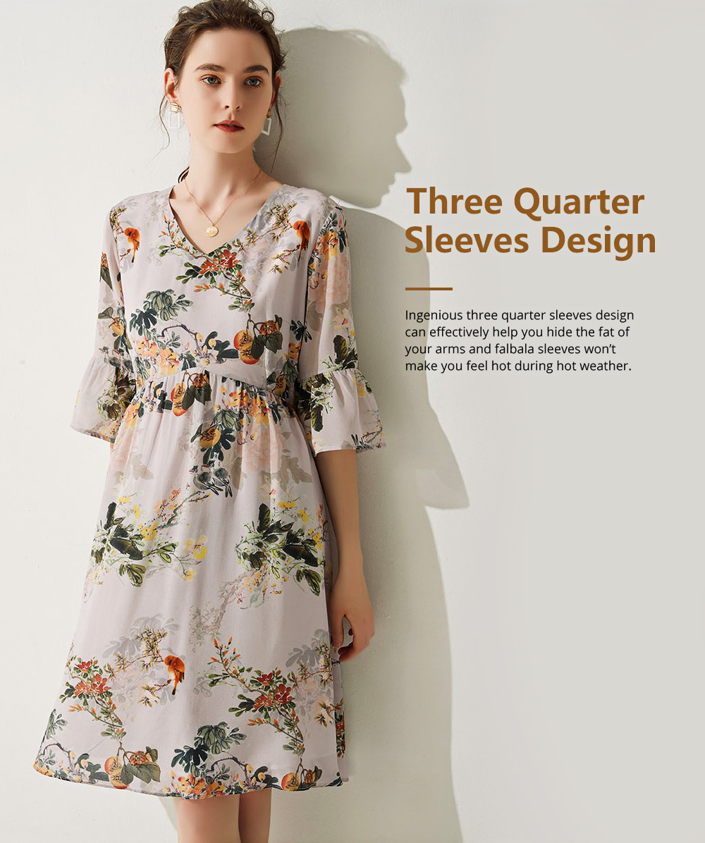 Elegant Fancy Stylish Flower Painting V-neck High-waist Three Quarter Falbala Sleeve Dress Atmosphere A-Type Ladies Dress 3