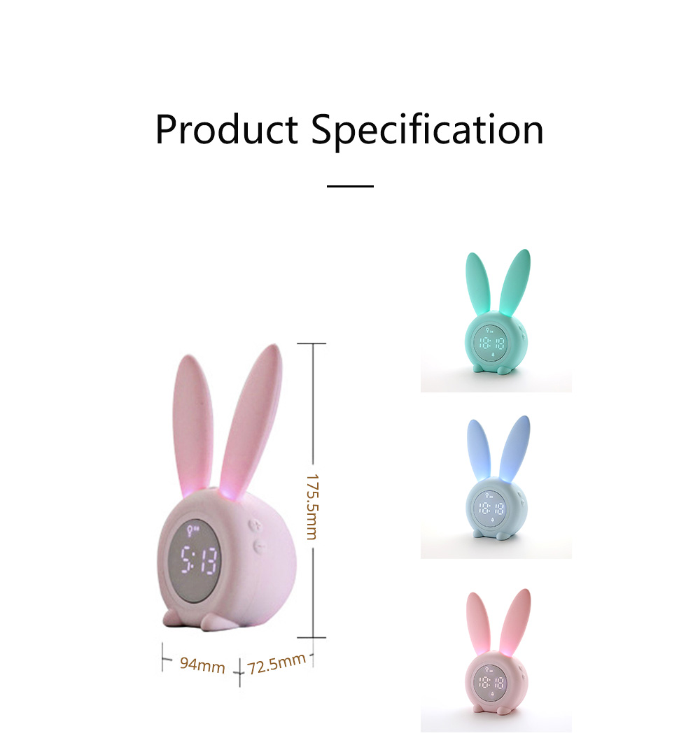 Rabbit Electronic Alarm Clock Timing Subdued Lights Magnetic Suction LED Clock Good Endurance Wake Up Tools 7