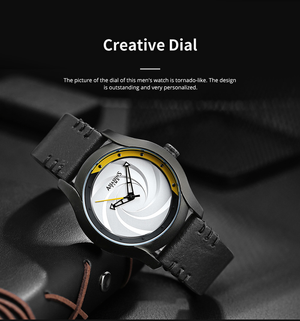 Chic Wrist Watch with Leather Belt for Men Unique Personality Tornado Design Dial Waterproof Watch 3