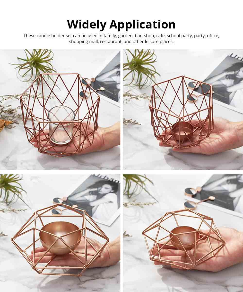 Nordic Geometric Wrought Iron Candlestick Creative Home Bedroom Room Decoration Shooting Props Romantic Candle Holder 4