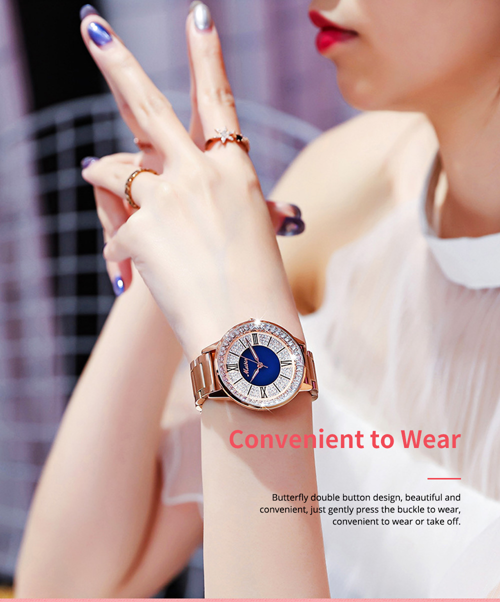 MEIBIN Multifunctional Watch for Women Luxury with Accented Crystal Dial and Steel Strap Waterproof 4