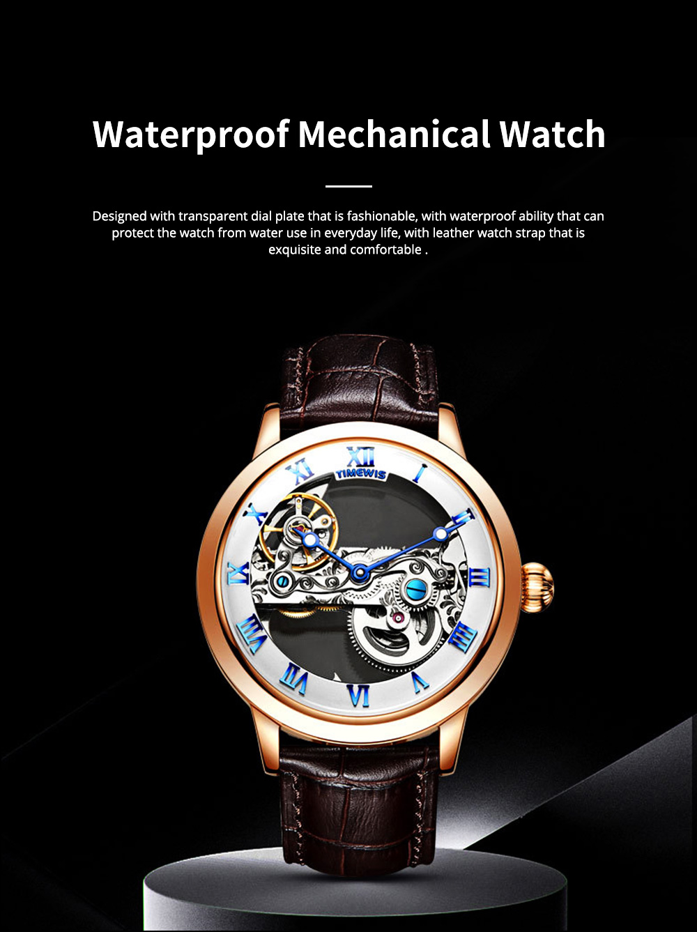 Waterproof Mechanical Watch for Men Transparent Fashionable with Leather Band Strap Scratchproof 0
