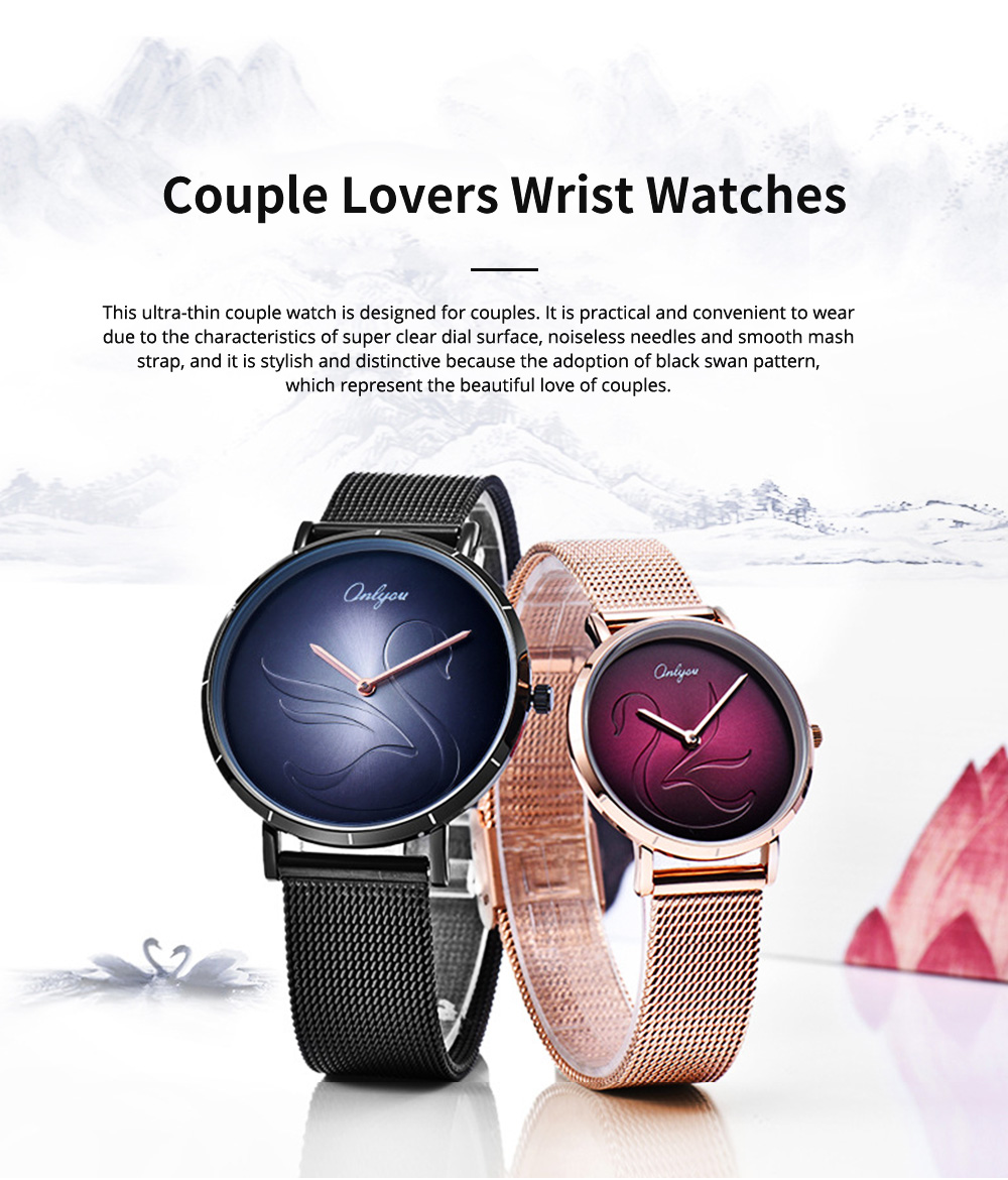 2 Pack Ultra Thin Couple Lovers Wrist Watches Set with Mesh Strap and Quartz Movement for Lovers 0