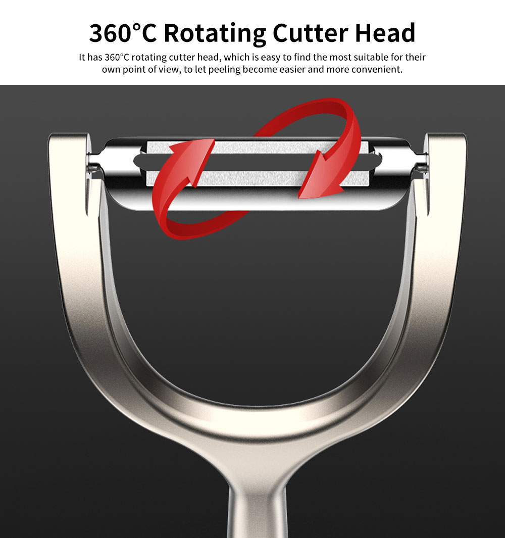 Household Strong Zinc Alloy Peeling Artifact, Kitchen Multi-function Fruit Knife with 360°C Rotating Cutter Head 5