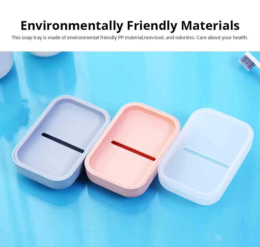 Creative Soap Box with Lid, Soap Holder with Drain Design, Portable Japanese Style Bathroom Accessory Double Soap Box Tray 1