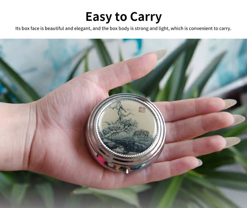 Men's Portable Health Pill Box, Stainless-iron ABS Portable Metal Pill Container with 4 Separation Layers 5