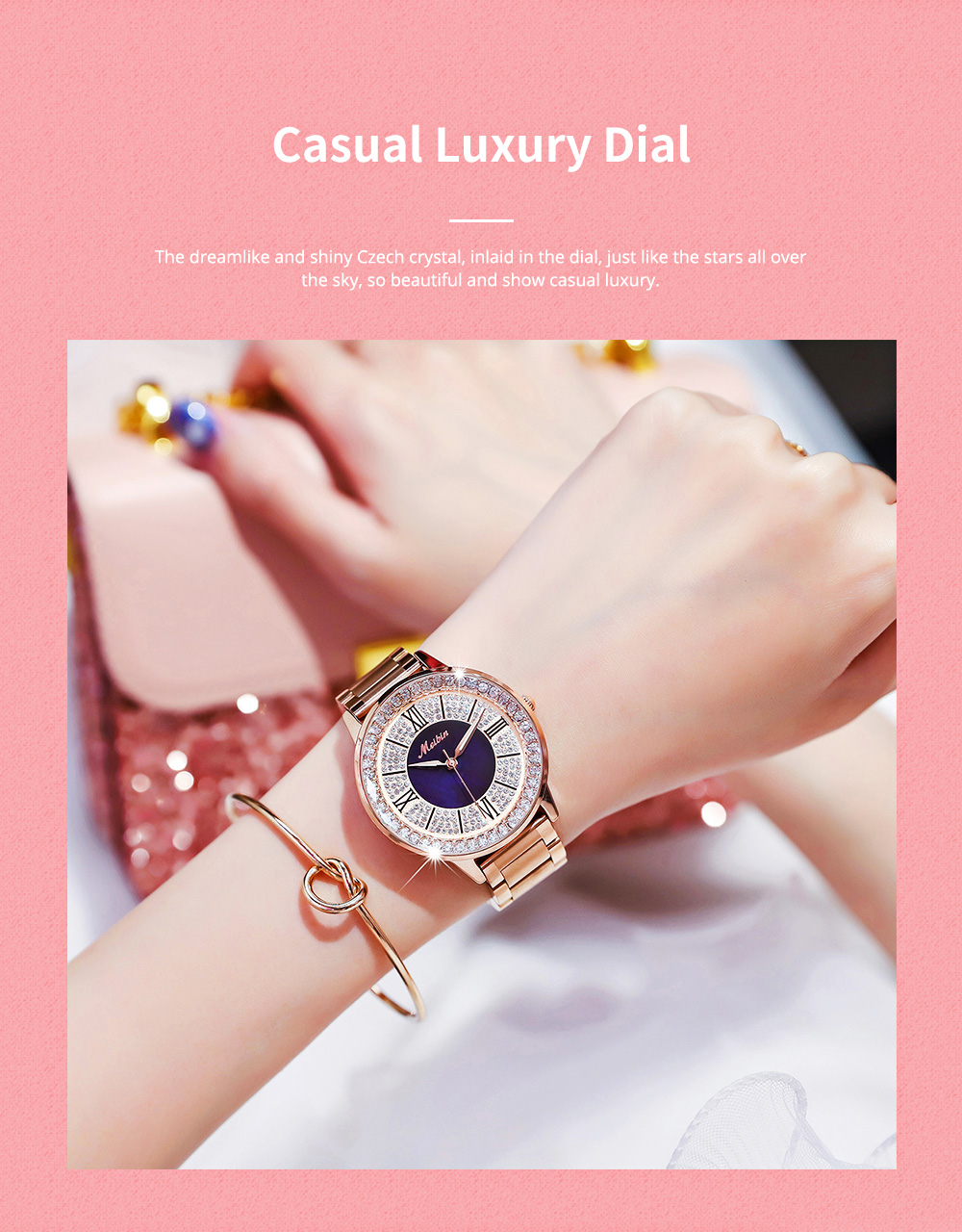 MEIBIN Multifunctional Watch for Women Luxury with Accented Crystal Dial and Steel Strap Waterproof 1