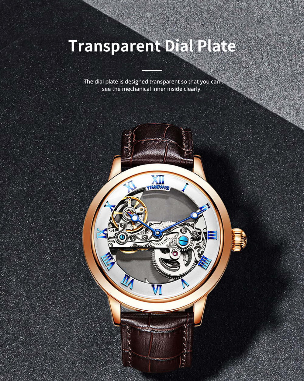 Waterproof Mechanical Watch for Men Transparent Fashionable with Leather Band Strap Scratchproof 2