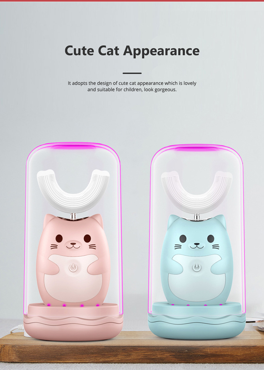 Electric Toothbrush for Children Cute Cat Appearance Three Gears U Shape Brush Waterproof Magnetic Suction Charging Brush Tool 2