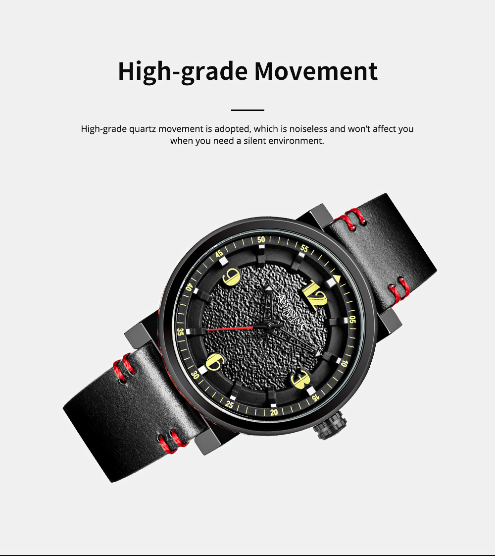 Minimalist Stylish Casual Sports Wrist Watch with Leather Strap Waterproof Watch Quartz Watch for Men Women 3
