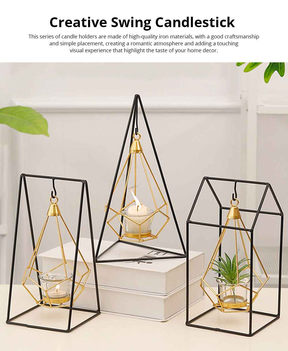 Candlestick Nordic Ins Geometric Wrought Iron Hanging Candle Holder Modern Home Decor Table Candle Decor Shooting Props Gold & Black 0