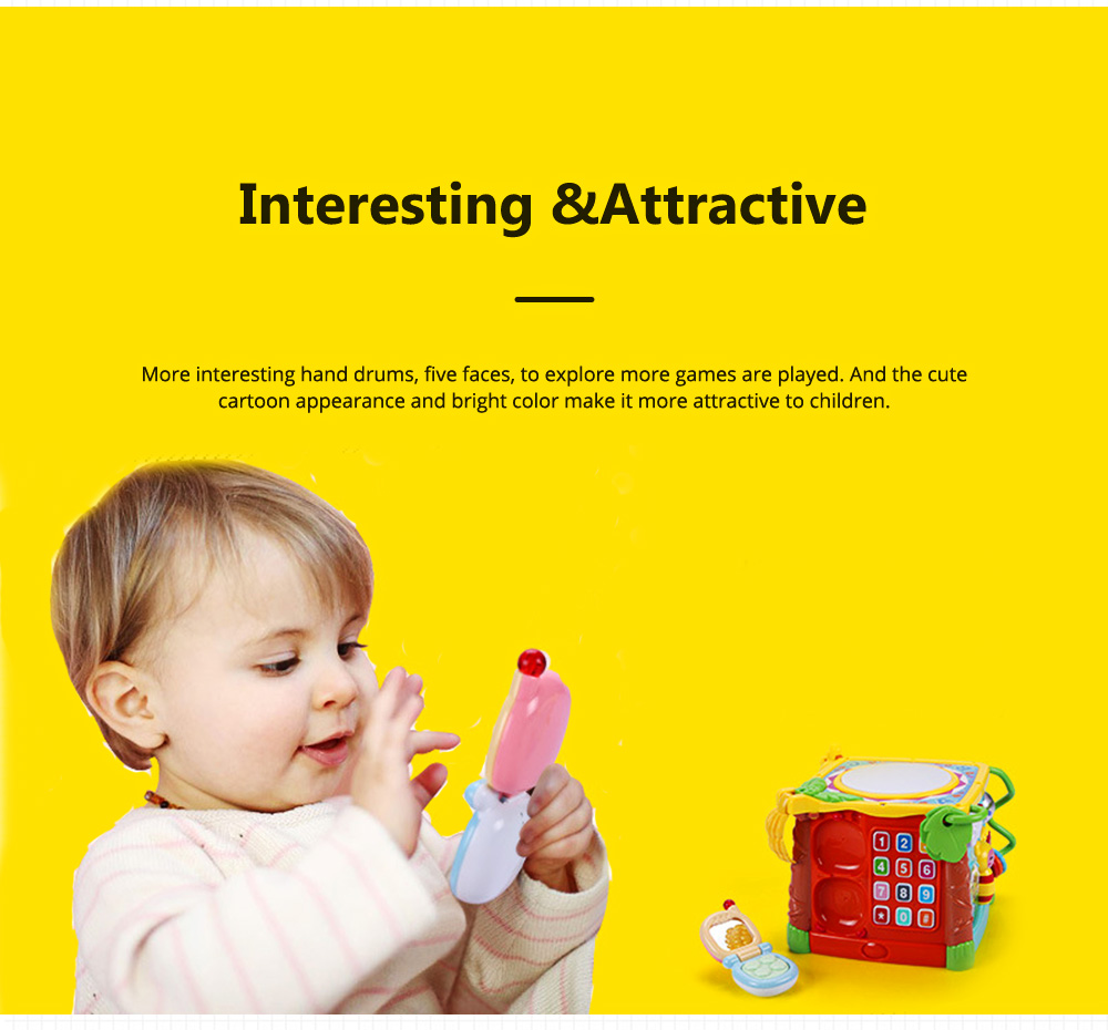 Goodway Plastic Hand Drums with Six Face Children's Educational Toys for Language Skills and Hand Flexibility Training 2