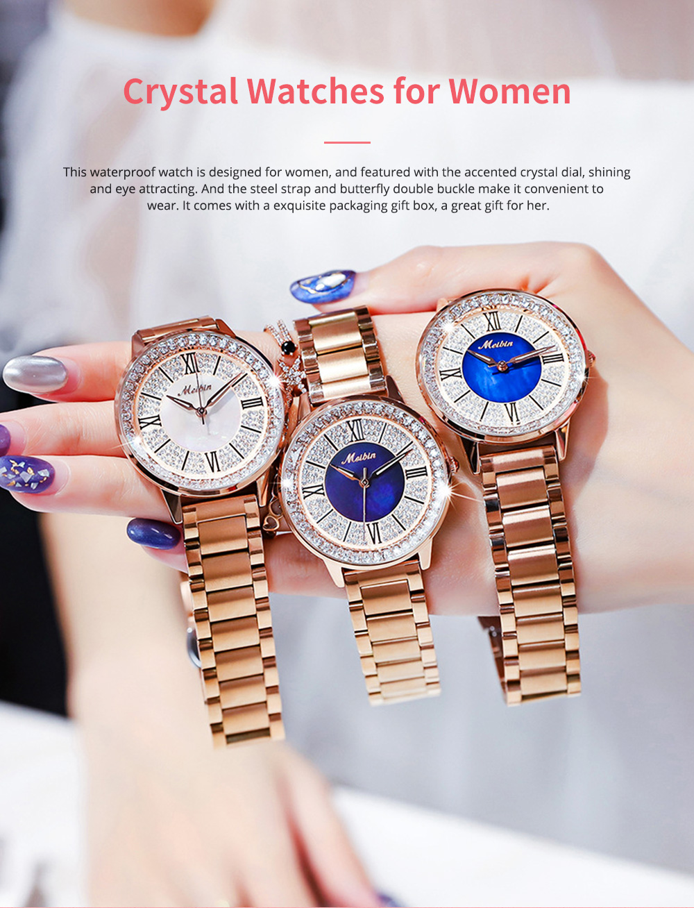 MEIBIN Multifunctional Watch for Women Luxury with Accented Crystal Dial and Steel Strap Waterproof 0