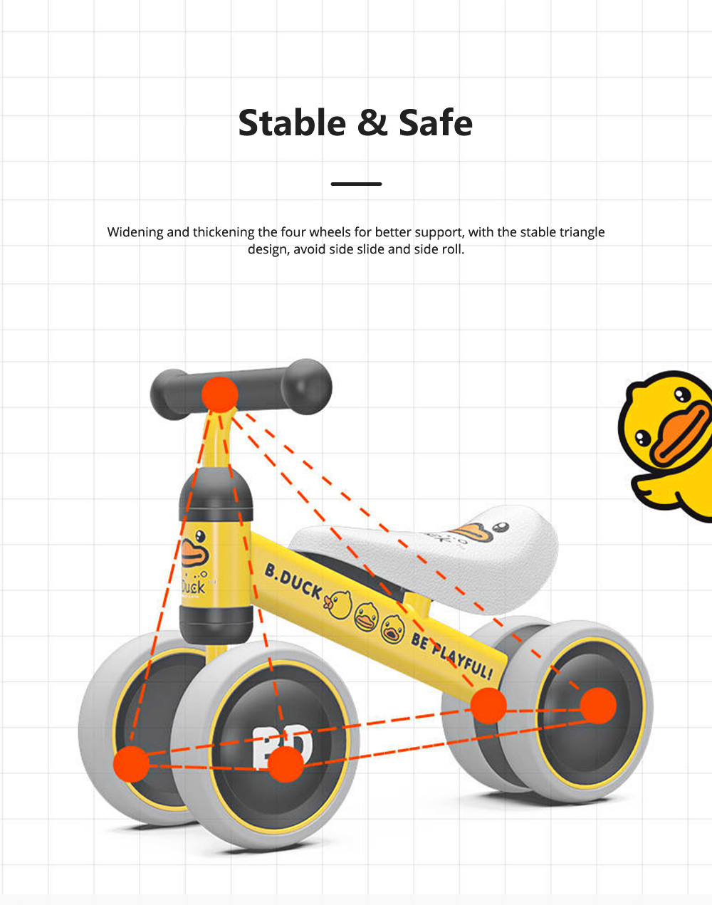 Four-Wheeler Balance Bike for 1-3 Years Old Children Without Pedals Boys and Girls Baby Toy Walker Scooter 1