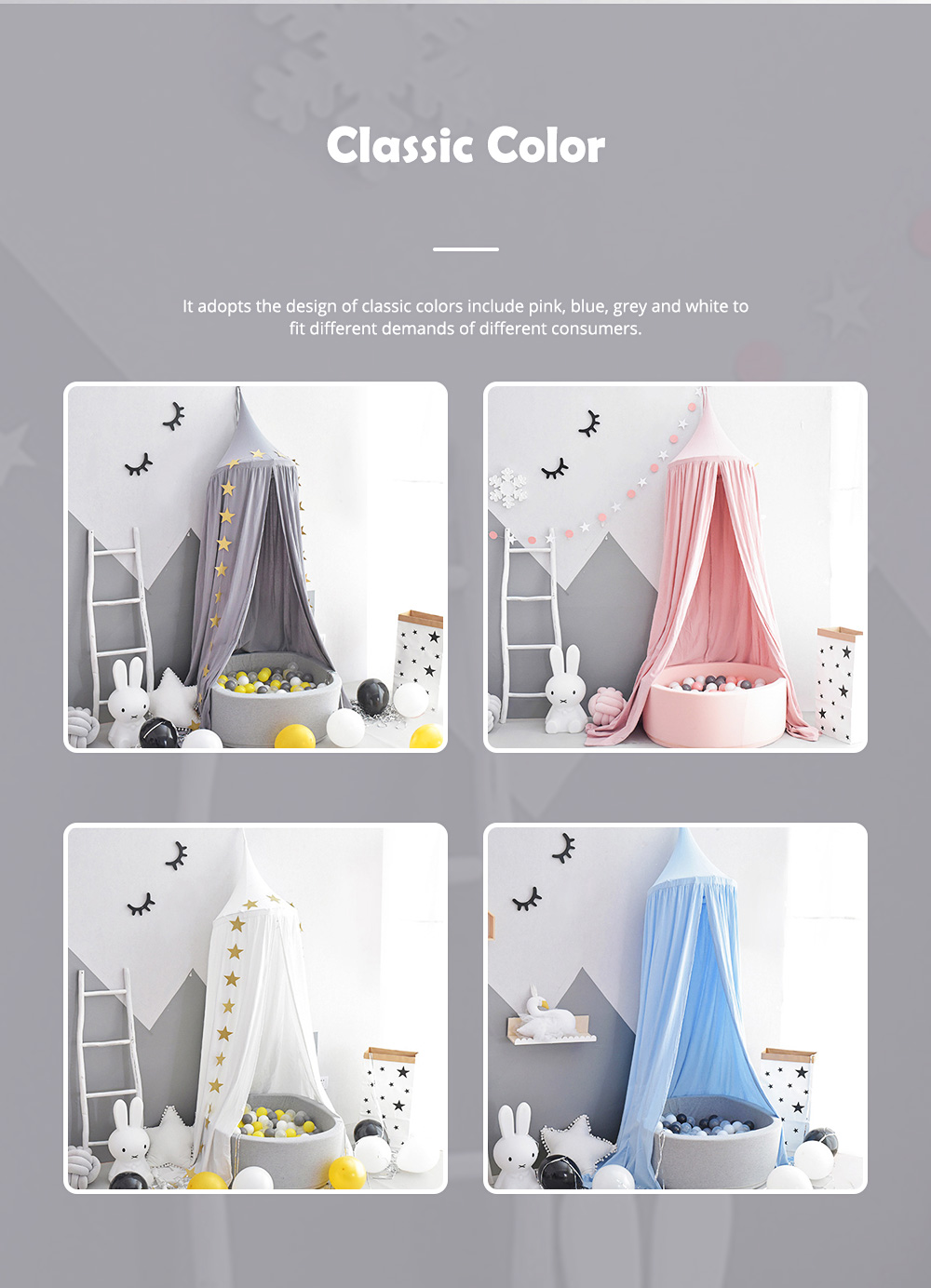 Lovely Cloth Play House Dome Veil for 0-2 Year's Old Baby Classic Color Top Lanyard Children's Tent 1