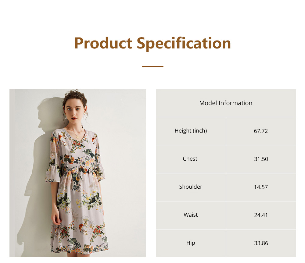 Elegant Fancy Stylish Flower Painting V-neck High-waist Three Quarter Falbala Sleeve Dress Atmosphere A-Type Ladies Dress 7