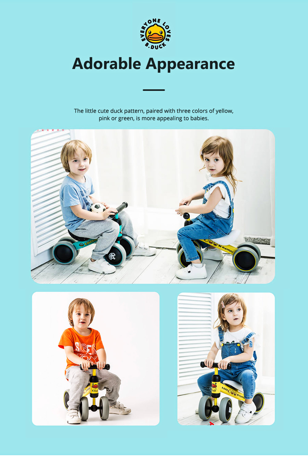 Four-Wheeler Balance Bike for 1-3 Years Old Children Without Pedals Boys and Girls Baby Toy Walker Scooter 6